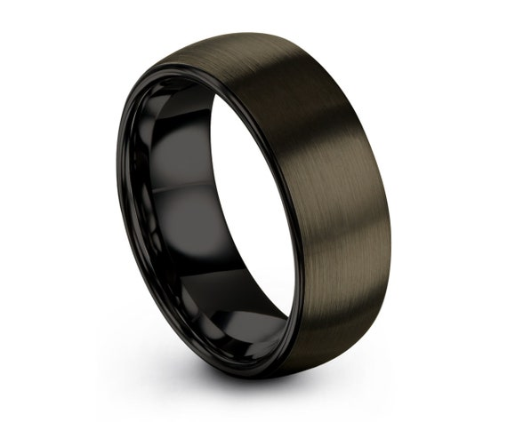 Tungsten Wedding Band,Gunmetal Tungsten Wedding Ring,Men & Women,Tungsten Carbide Ring,Dome Tungsten Ring,Brush D