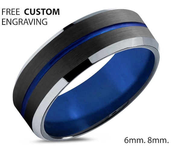 Blue Unique Unisex Tungsten Wedding Band - His & Hers Black Promise Ring - Silver Edges - Free Custom Personalized Engraving - 50% OFF