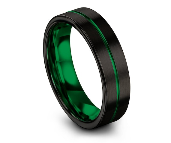Tungsten Engagement Ring Set, Domed Wedding Tungsten Ring 6mm, Black and Green, Engraved Ring, Wedding Gifts, Custom Ring, Free Shipping