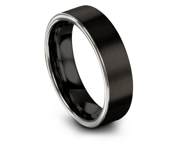 Brushed Polished Comfort Fit Wedding Ring   Tungsten Wedding Band Men   Tungsten Black Ring   Engagement Band   Family Ring   Custom Jewelry