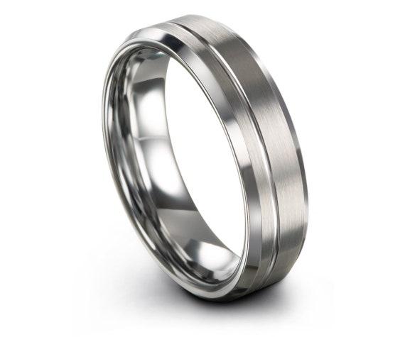 Tungsten Silver Rings,Mens Silver Ring,Grey Wedding Band,Tungsten Ring Set,Offset Line Engraving,Tungsten Engagement Ring,Matching Ring