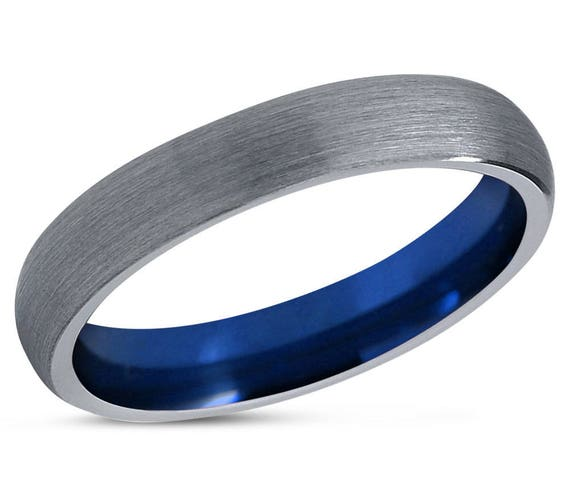 Tungsten Ring Blue, Mens Wedding Band Silver, Wedding Ring 4mm, Engagement Ring, Promise Ring, Rings for Men, Rings for Women, Silver Ring