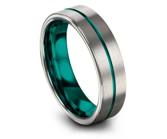 Comfort Wedding Band Silver,Brushed with Center Line Engraving Teal,Wedding Ring Set,Boyfriend Gift,Anniversary Gift,Free Shipping,6MM