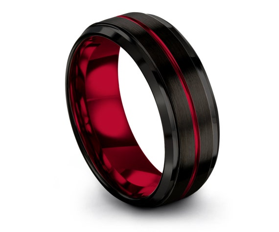 Brushed Finish Tungsten Ring Black, Red Tungsten Wedding Band, Red Line Engraving, Custom Tungsten Ring, 6mm Tungsten Ring, Free Shipping
