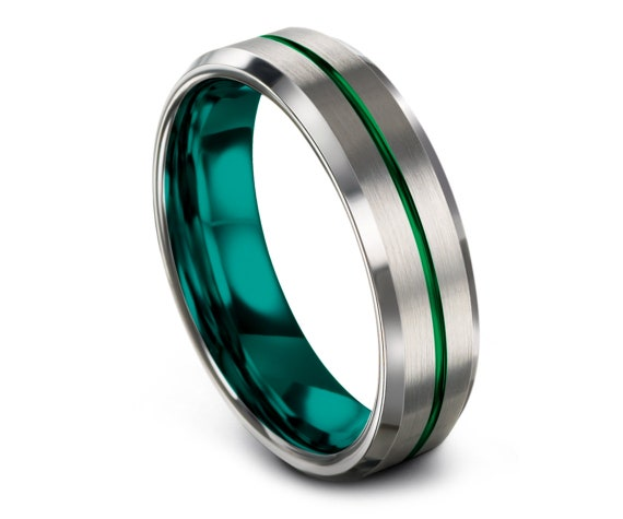Mens Wedding Band Teal | Wedding Ring Set His and Her | Silver Tungsten Carbide Ring 6mm | Thin Line Green | Engagement Ring | Gifts for Her