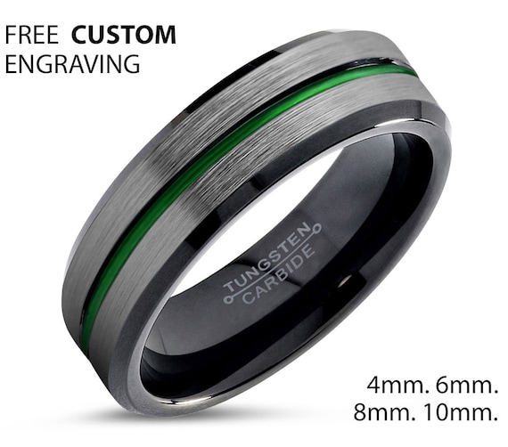 Green Line Unisex Wedding Band With Black Interior, 8mm Tungsten Ring, Wedding Ring, Engagement Ring, Promise Ring, Personalized, Gift Idea