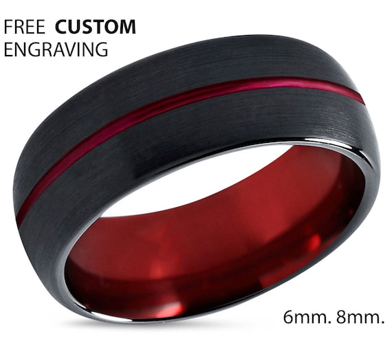 Tungsten Ring, Black Red Wedding Band, Tungsten Carbide 8mm, Mens, Women, Matching, Engagement, Rings for Men, Black Ring, Promise Ring