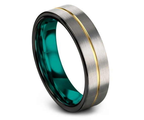 Brushed Tungsten Carbide Ring Men | Teal Tungsten Ring for Women | Silver Tungsten Ring 6mm | Handmade Tungsten Ring | Gift For Wife