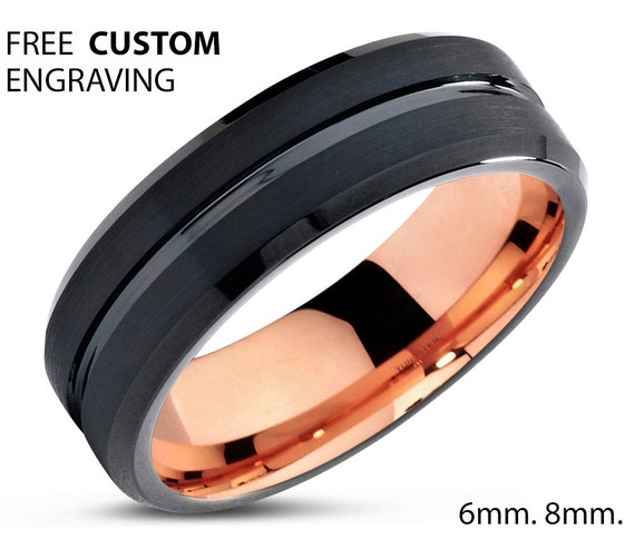 Mens Wedding Band, Rose Gold Wedding Ring, Tungsten Ring 6mm 18K, Engagement Ring, Promise Ring, Personalized, Gifts for Her, Gifts for Him
