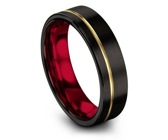 Tungsten Ring, Black Tungsten Wedding Band, Red Tungsten Ring Men, Mens Black Ring, Engraved Rings, Gifts For Husband, Custom Ring