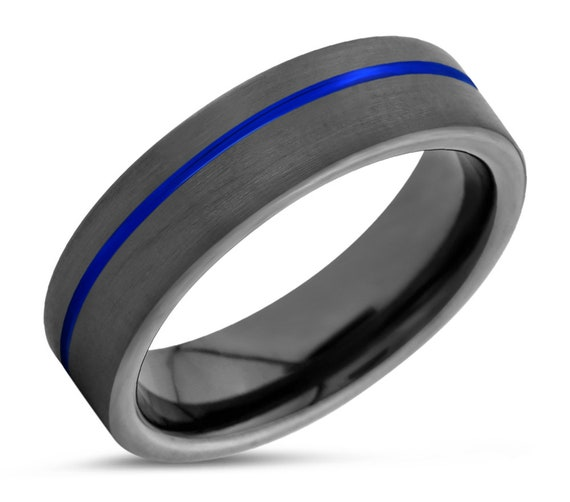 Gunmetal Black Mens Wedding Band | Blue Line Tungsten Carbide Ring 6mm, or 8mm available | His or Her with Fast Free Shipping