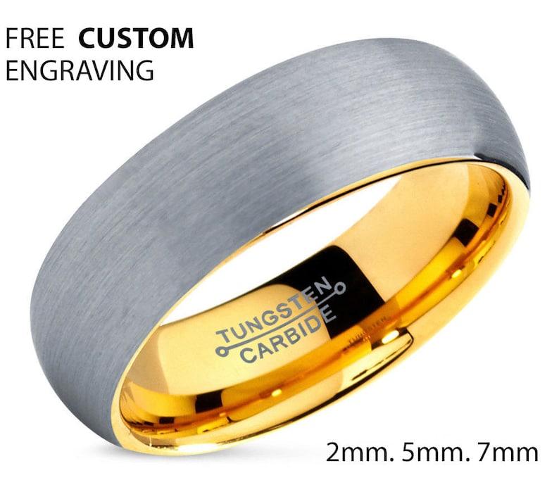 Tungsten Ring Yellow Gold 18K 7mm Rings for Women Mens Wedding Band Gold Ring Wedding Ring Engagement Ring Promise Ring Rings for Men