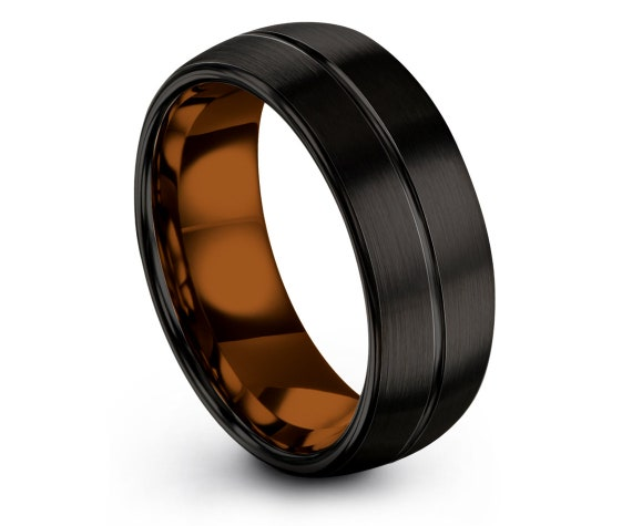 Black Tungsten Wedding Band | Personalized Band | Center Line Engraving Ring | Engagement Ring | Women Ring | Promise Ring | 6MM
