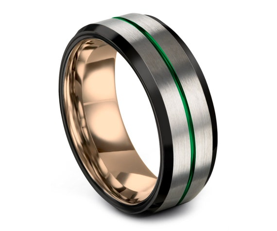 Tungsten Wedding Band Men Silver,Black Tungsten Ring,Thin Center Line Green Engraving,Promise Ring For Him,Rings for Men,All Size Available