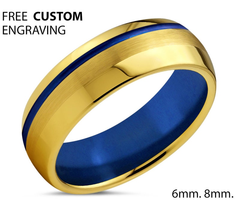 Tungsten Wedding Ring For Any Occasion Free Custom Engraving 18k Yellow Gold Unisex Wedding Ring with Blue Interior and Offset Line