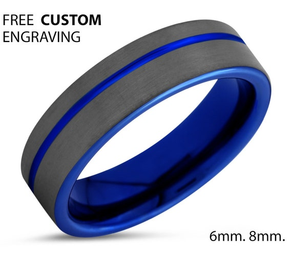 Beautiful Blue Custom Ring Free Personalized Engraving, Mens and Women Tungsten Ring