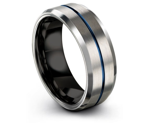 Black His and Hers Wedding Bands, Beveled Tungsten Ring,Thin Line Blue Engraving Ring, Engagement Ring, 6mm, 8mm, Gift For Dad