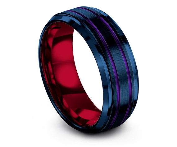 Dad Gifts - Red Tungsten Ring - Rings For Women - Blue Wedding Bands - Double Line Purple Engraving - His and Hers Rings - Gifts