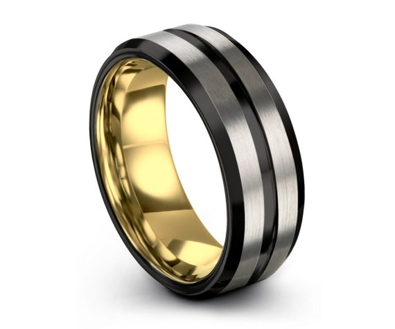Black Brushed Silver Tungsten Ring, Yellow Gold Wedding Band, 8mm 18K, Wedding Ring, Engagement Ring, Promise Ring, Rings for Men, Custom