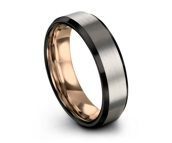 Brushed Silver Black Tungsten Ring Rose Gold Wedding Band Ring Tungsten Carbide 4mm 18K Tungsten Ring Man Male Women Anniversary Matching