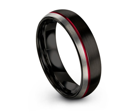 Mens Wedding Band Black, Tungsten Ring Red, Wedding Ring, Engagement Ring, Promise Ring, Wedding Ring, Rings for Men, Rings for Women