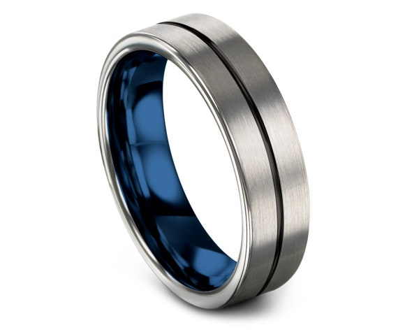Round Cut Tungsten Wedding Band Silver Brushed - Thin Line Black Rings - Men's Wedding Band Blue - Fathers day gift - Gift for Her - Comfort