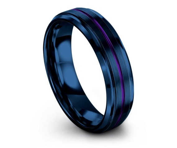 Wedding Gifts, Mens Wedding Band Blue, Tungsten Rings for Men, Blue Engagement Ring, Center Line Purple Engraving, Gift For Papa