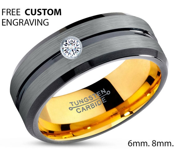 Mens Wedding Band, Wedding Ring Yellow Gold, Tungsten Ring 18k 8mm, Diamond Ring, Engagement Ring, Promise Ring, Mens Ring, Rings for Men