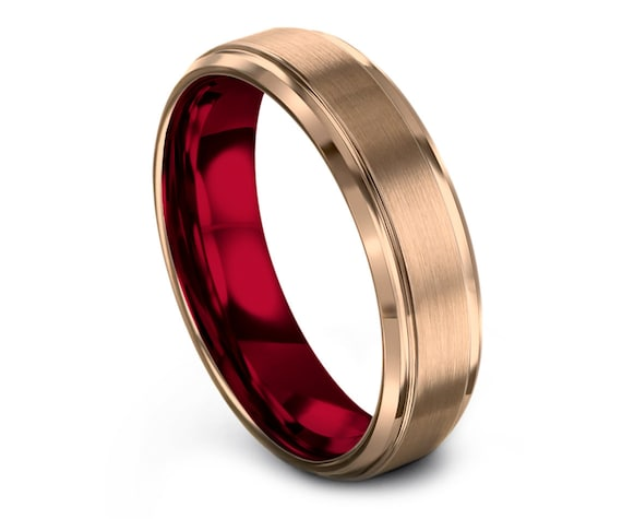 His and Hers Wedding Band Set Red | Beveled Tungsten Carbide Wedding Ring | Brushed Rose Gold Band |Stylish Ring | Matching Ring | Size 4-15