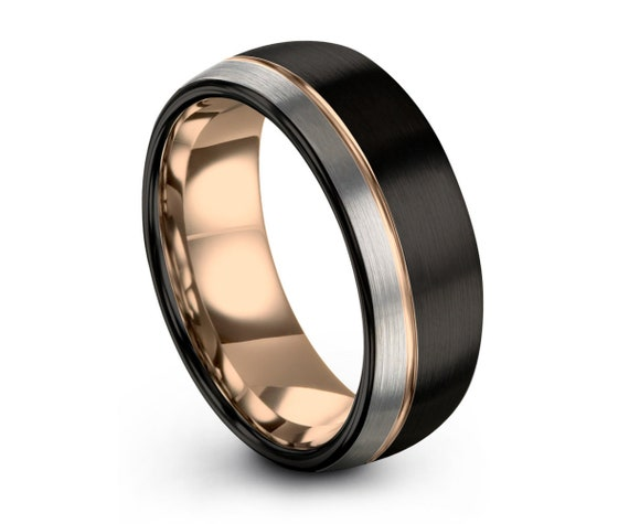 Rose Gold Line Black Brushed Silver Wedding Band Ring Gunmetal Gloss Polished Free Shipping Unique Custom Engraving Personalized Gift Idea