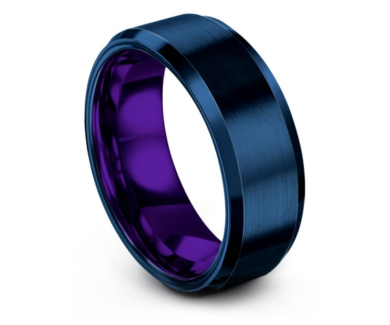 Unique Gifts, Beveled Tungsten Wedding Band, Engagement Ring, Mens Purple Wedding Band, Blue Tungsten Carbide Band, Gift For Him, 8MM
