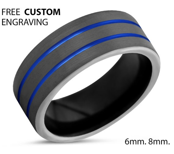 Gunmetal Tungsten Wedding Band with Double Blue Lines | Hypoallergenic Personalized Promise Ring for Men & Women