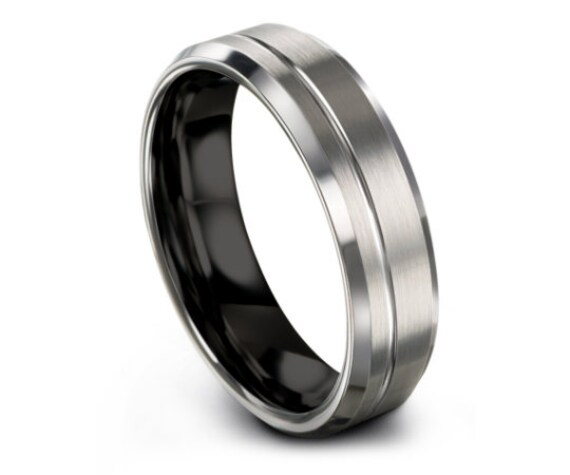 Silver Tungsten Ring,Beveled Tungsten Wedding Band,Rings for Men,His and Hers Wedding Bands,Gift For Wedding,Unique Ring,Available All Size