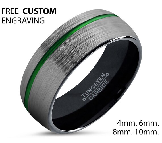 Black With Green Line Unisex Wedding Band, Brushed Silver Wedding Ring, Tungsten Ring 8mm, Personalized Ring, Engagement Ring, Promise Ring