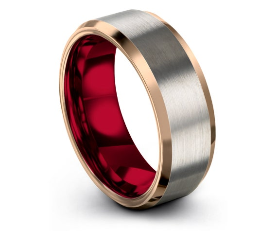 Mens Wedding Band Silver, Tungsten His and Hers,  Wedding Band, Rose Gold Wedding Band, Tungsten Carbide Ring Red, Gifts for Him, 6mm, 8mm