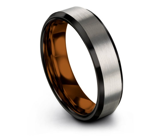 Brushed Silver Tungsten Ring, Grey Tungsten Wedding Band, His and Hers Rings, Copper Tungsten Ring, 6mm Tungsten Ring, Best Husband Gift
