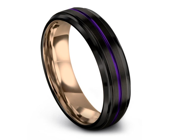 Purple Tungsten Ring | Tungsten Carbide Wedding Band | Center Engraving | Black Wedding Ring | Mens Wedding Band Ring | Free Shipping