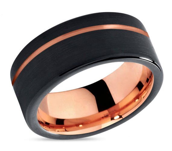 Black Tungsten Ring Rose Gold Wedding Band Ring Tungsten Carbide 9mm 18K Tungsten Ring Man Wedding Band Male Women Anniversary Matching