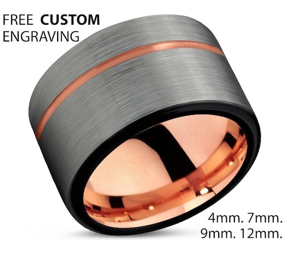Mens Wedding Band, Rose Gold Wedding Ring, Tungsten Ring 12mm 18K, Engagement Ring, Promise Ring, Gifts for Her, Gifts for Him, Personalized