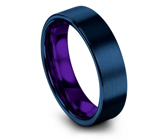 Purple Tungsten Wedding Bands | Women's Blue Rings | Blue Brushed Tungsten Wedding Band | Comfort Fit | Personalized Ring | Free Shipping