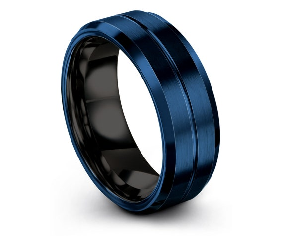 Blue Wedding Rings Band,Black Tungsten Ring Set,His and Hers Rings,Tungsten Carbide Rings,Tungsten Ring 6mm 8mm,Gifts For Him,Gifts For Her