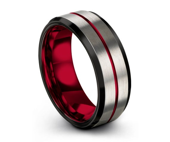 Red Line Mens Wedding Band | Black Tungsten Carbide Ring | 4mm, 6mm, 8mm, or 10mm Widths Available | Great Gift for Him Her Free Shipping