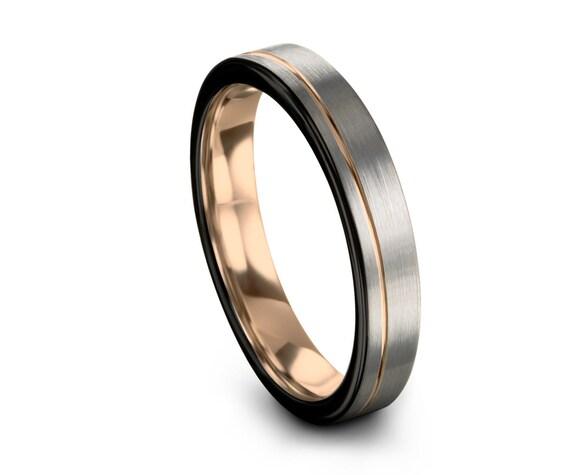Mens Wedding Band Brushed Silver, Tungsten Rose Gold 4mm 18K, Wedding Ring, Engagement Ring, Promise Ring, Rings for Men, Rings for Women