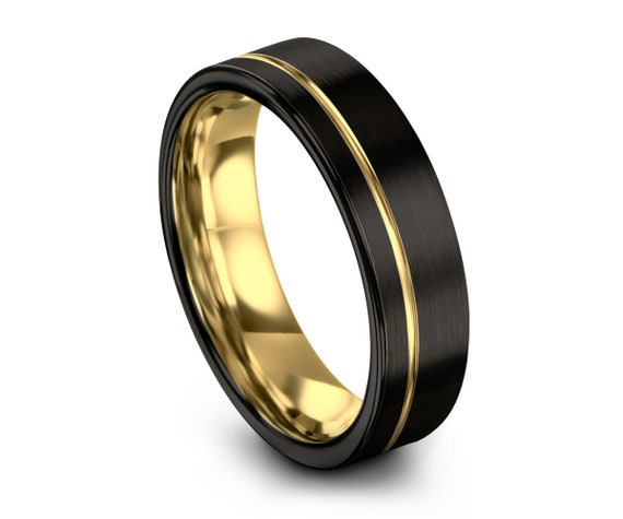 Unisex Black Tungsten Ring 18k Yellow Gold Wedding Band Ring Tungsten Carbide Ring 8mm Width For Anniversary, Matching, Engagement, Gift