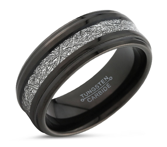 Meteorite Promise Ring for Men & Women | Black Wedding Band | Tungsten Engagement Ring | Personalized Gift