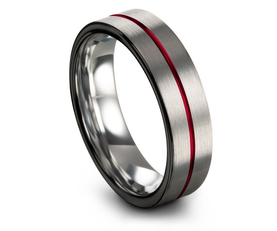 Flat Silver Ring | Brushed Tungsten Carbide Ring | Black Edge | Unisex Wedding Band | Center Line Engraving Red | Wedding favors | Comfort