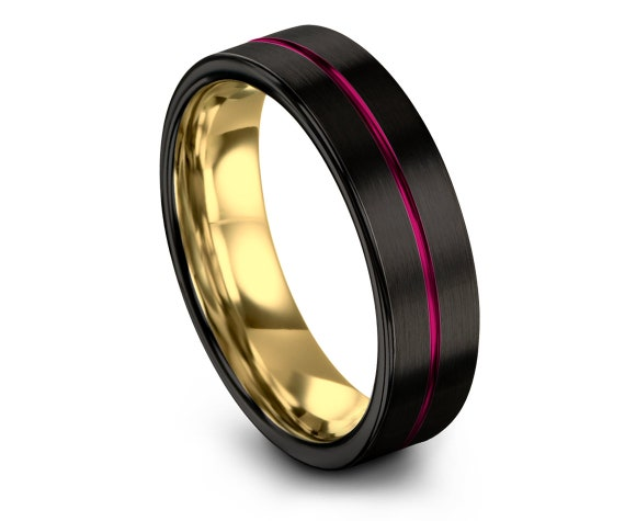 Women Tungsten Band Pink,Gold Tungsten Band,Center Line Engraving Wedding Band,18K Gold,Womens Band Ring,Personalized Gifts,6mm,8mm