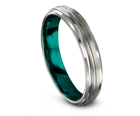 His and Hers Wedding Band Set - Teal Tungsten Carbide Ring Men - Offset Engraving - Silver Wedding Ring - Christmas Gifts - Matching Ring