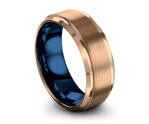 Mens Wedding Band Blue, Tungsten Ring Rose Gold 18K, Wedding Ring, Engagement Ring, Promise Ring, Personalized, Rings for Men, Gold Ring