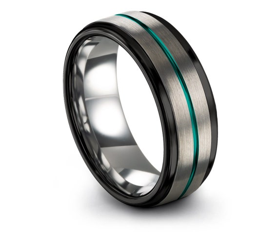 Silver Brushed With Center Thin Line Engraving Teal, Comfort Fit Wedding Ring, Black Tungsten Ring, Tungsten Band, His and Hers Ring Set